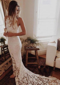 Simple Sleeveless Long Ivory Lace Halter Mermaid Sleeveless Wedding XHMPST13950