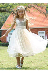 Cute Sweetheart Sequins Empire Tulle Straps Flower Girl Dresses Child XHMPST11801