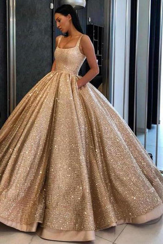 Ball Gown Prom Dress with Pockets Beads Sequins Floor-Length Gold Quinceanera XHMPST11118