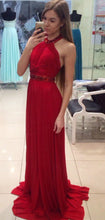 Load image into Gallery viewer, A Line Halter Red Chiffon Long Prom Dresses with Beading Cheap Evening XHMPST10285