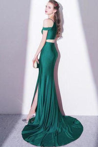 2020 Elegant Green Off Shoulder Two-Piece Slit Mermaid Bateau Prom XHMPST10078