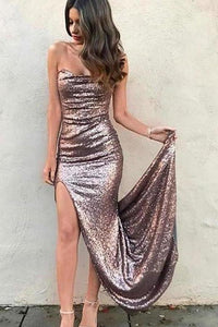 Sexy Mermaid Strapless Sequins Prom Dresses with Slit Long Evening XHMPST15667