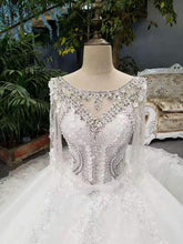 Load image into Gallery viewer, 2020 New Arrival Cheap Price Tulle Wedding Dresses Lace Up With Appliques And Crystals 3/4 XHMPST14599