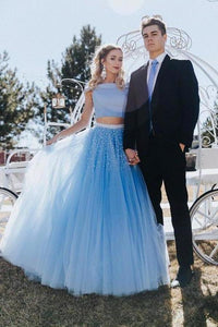 Unique A Line Off the Shoulder Two Piece Blue Tulle Prom Dresses with XHMPST14301