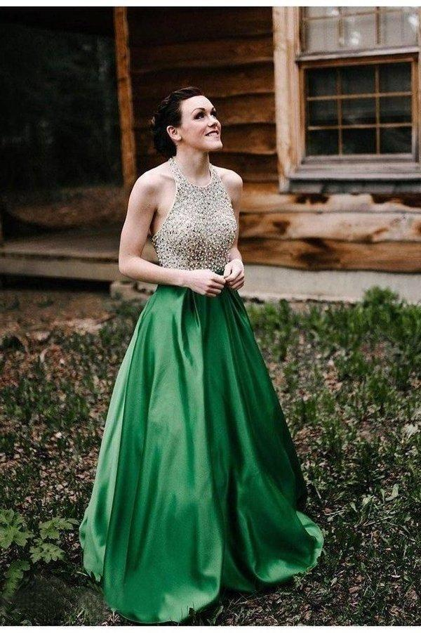A Line Halter Emerald Green Beaded Prom Dresses Backless Satin Long Prom XHMPST10278