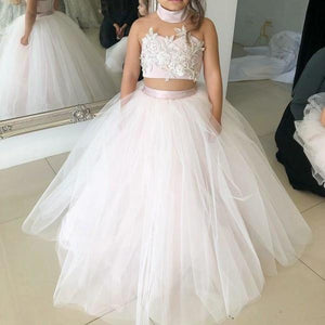 Simple Two Piece Ball Gown Halter Blush Pink Flower Girl Dresses with Appliques XHMPST14954