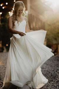 A Line Chiffon Strapless Ivory Sweetheart Beach Wedding Dresses with Lace Bridal XHMPST10202