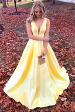 Load image into Gallery viewer, Unique Yellow Satin Prom Dresses with V Neck V Back Straps Long Formal XHMPST14394