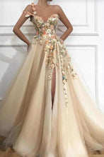Load image into Gallery viewer, A Line One Shoulder V Neck 3D Flowers Prom Dresses Tulle Sleeveless Evening Dresses XHMPST15009