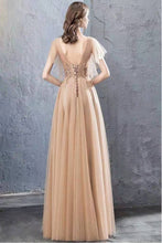 Load image into Gallery viewer, A Line V Neck Tulle Long Prom Dresses Cheap Evening Dress with XHMPST20488