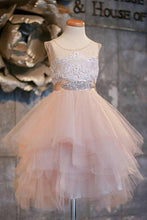 Load image into Gallery viewer, Blush Pink Flower Girl Dresses Cap Sleeve Asymmetric Tulle Lace Top Cute Dress for XHMPST11282