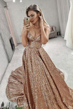 Load image into Gallery viewer, A Line Gold V Neck Sequin Long Prom Dress Long Cheap Evening XHMPST10259