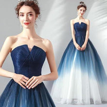 Load image into Gallery viewer, A line Blue Ombre Prom Dresses Lace up Sweetheart Strapless Formal XHMPST10157