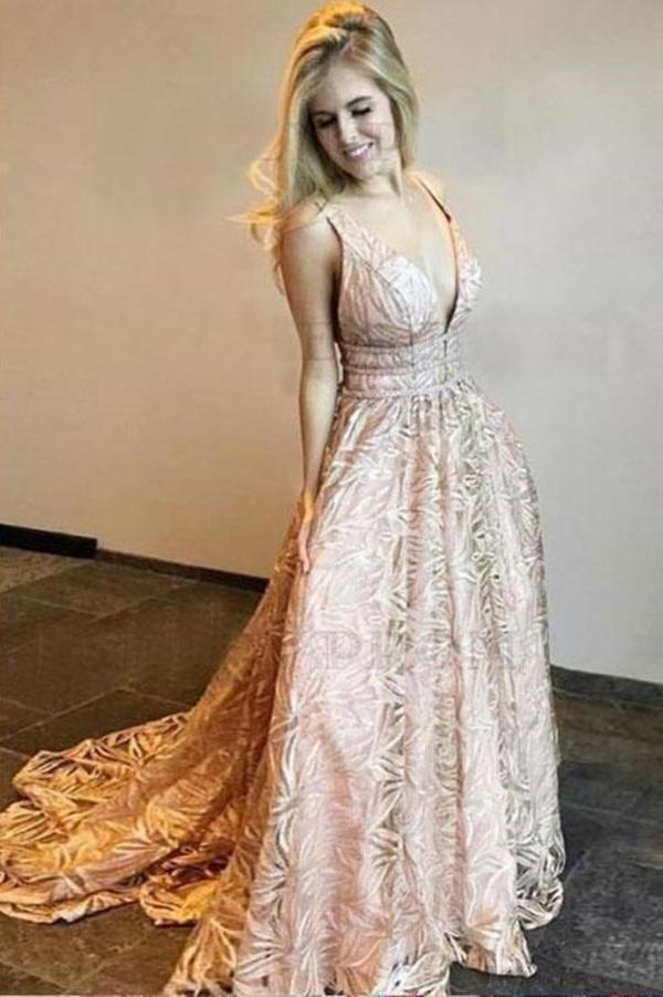 Simple A Line Lace Deep V Neck Floor Length Prom Dresses Pink Evening XHMPST13835