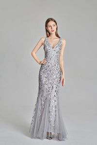 Sexy V Neck Silver Mermaid Prom Dresses Embroidered Sequins Long Evening Dresses XHMPST15368