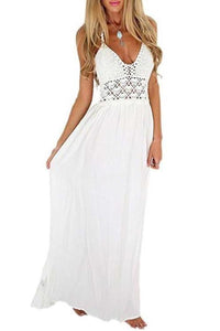 A line Chiffon V Neck Beach Wedding Dresses Backless Ivory Wedding XHMPST10206