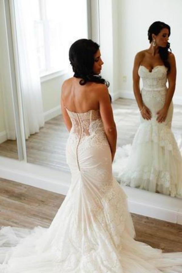 Sweetheart Mermaid Tiered Lace Wedding Dress Ruched Sweep Train Bridal XHMPST14188