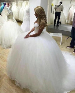 Sparkly Ball Gown Tulle Strapless Ivory Wedding Dresses Long Bridal Dresses XHMPST15429