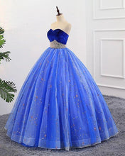 Load image into Gallery viewer, Ball Gown Sweetheart Strapless Blue Prom Dresses with Beading Tulle Quinceanera Dresses XHMPST15073
