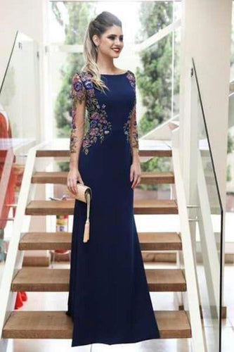 Mermaid Long Sleeves Navy Blue Scoop Prom Dresses Long Formal XHMPST12796
