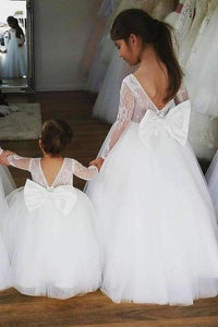 Ball Gown Lace Long Sleeves Flower Girl Dress With Bowknot Back Round Neck Baby Dresses XHMPST15058