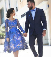 Load image into Gallery viewer, Unique Ball Gown Appliques Knee-Length Long Sleeve A-Line Tulle Royal Blue Sweet 16 XHMPST14314