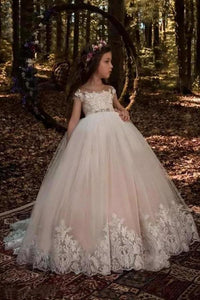 Cute Tulle Scoop Ball Gown Lace Appliques Beads Cap Sleeve Pink Flower Girl XHMPST11808