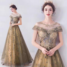 Load image into Gallery viewer, Elegant Round Neck Sequins Tulle Appliques Prom Dresses with Short Sleeves Dance Dresses XHMPST15197
