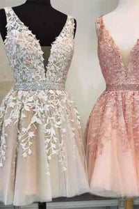 Short V Neck Beaded Ivory Tulle Prom Dresses Homecoming Dresses Lace Embroidery XHMPST14941