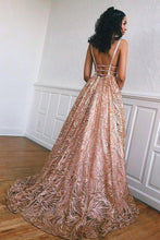 Load image into Gallery viewer, Simple Lace Open Back Evening Dresses A Line Deep V Neck Long Prom Dresses uk XHMPST14947