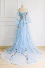 Load image into Gallery viewer, Light Blue Off the Shoulder Half Sleeve Prom Dresses Sweetheart Evening Dress XHMPST15238