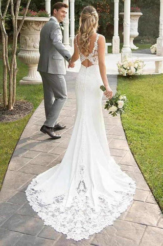 Spaghetti Straps Lace Open Back Mermaid Off White Wedding Dresses Bridal Dresses XHMPST15416