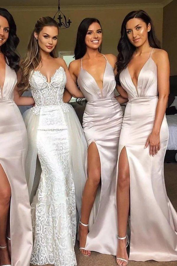 Sexy Slit Mermaid Bridesmaid Dresses Spaghetti Straps Long Wedding Party XHMPST13698