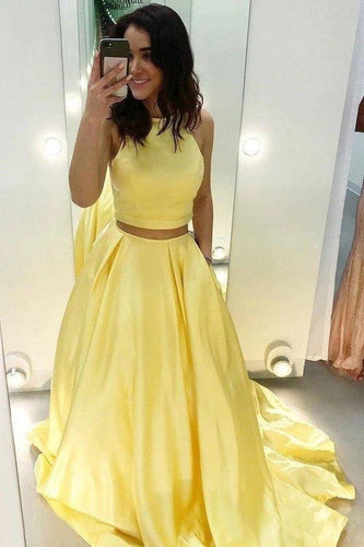 Two Piece Yellow Satin Formal Evening Dress Simple Long Prom Dresses XHMPST14777