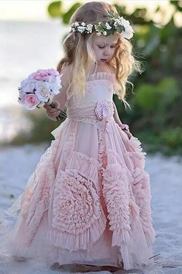 2020 Princess A Line Lovely Long Hand-Made Flower Chiffon Flower Girl Dresses XHMPST14621