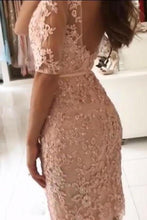 Load image into Gallery viewer, Sheath Pink Lace Appliques Beads Homecoming Dresses with Half Sleeve Prom Dresses XHMPST14937