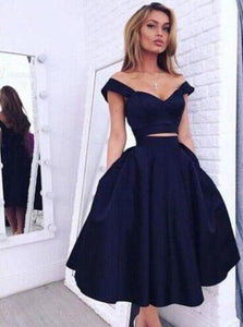 Vintage Style A-line Two-piece Off-the-shoulder A-line Dark Navy Homecoming XHMPST14477