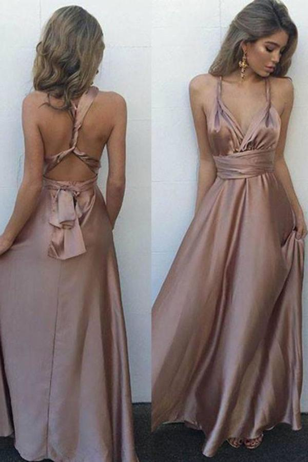 Sexy Blush V-Neck Sleeveless Floor Length with Pleats Crisscross Back Prom XHMPST13554