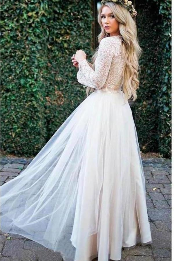 Princess Long Sleeve Lace Top Beach Wedding Dresses With Slit Tulle Ivory Wedding Gowns XHMPST15299