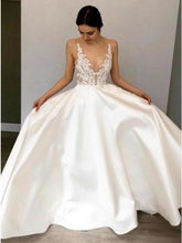 Load image into Gallery viewer, Simple A-Line Deep V Neck Satin Ivory Wedding Dress with Lace Appliques XHMPST15387