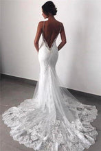 Load image into Gallery viewer, Sexy Mermaid Spaghetti Straps Wedding Dresses Lace Appliques Wedding Gowns with XHMPST13633