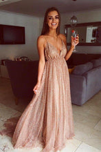 Load image into Gallery viewer, Flowy A Line Spaghetti Straps Champagne V Neck Prom Dresses with Sequins XHMPST15227