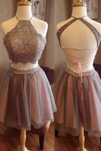 Short Two Pieces Open Back High Neck Sleeveless Homecoming Dress Graduation XHMPST13821