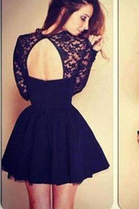 Sexy Ball Gown High Neck Long Sleeves Lace Backless Black Short Homecoming XHMPST13526