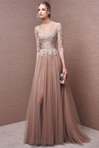 Elegant long lace long sleeve prom dress a line prom dress charming affordable prom XHMPST12066