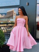 Load image into Gallery viewer, Simple Strapless Yellow Satin Ball Gown Short Homecoming Dresses Cocktail XHMPST13965