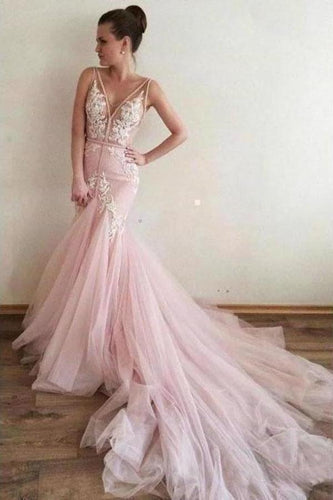 Sexy Pink Tulle Mermaid Wedding Dresses Backless V Neck Lace Bodice Bridal XHMPST13653