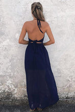 Load image into Gallery viewer, Simple A-Line Halter Floor Length Backless Navy Blue Chiffon Prom XHMPST13863