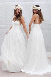 Simple V-neck Floor-Length Wedding Dress With Ruched XHMPST13992