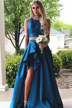 Load image into Gallery viewer, Simple Vintage Two Pieces A-line Blue Sleeveless Slit Long Scoop Woman Evening XHMPST13995